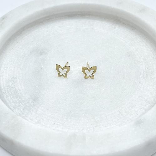 14k Solid Gold Butterfly Earrings