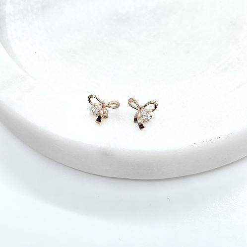14k Solid Rose Gold Ribbon Earrings
