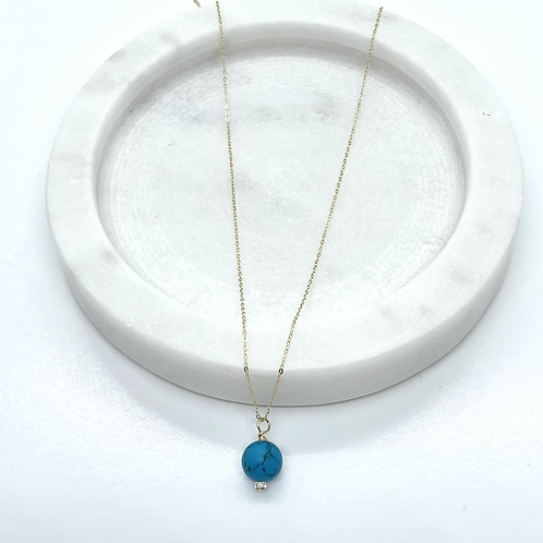 Thin 14k Solid Gold Turquoise Gemstone necklace