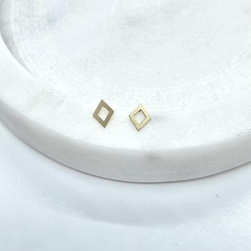 14k Solid Gold Rhombus Shape Earrings