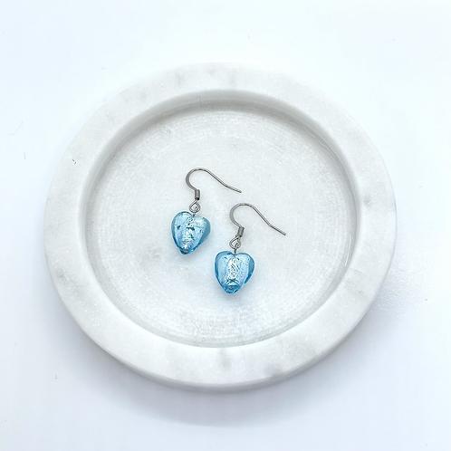 Blue Heart Glass Beads Earrings, Surgical Steel Hypoallergenic