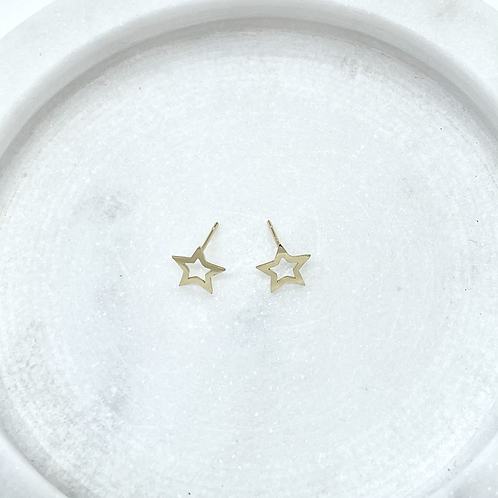 14k Solid Gold Star Earrings