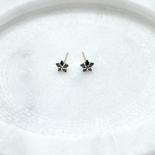 14k Solid Gold Black Star Cubic Earrings