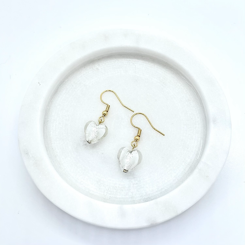 White Heart Glass Beads Dangle Earrings, Gold Plated Surgical Steel
