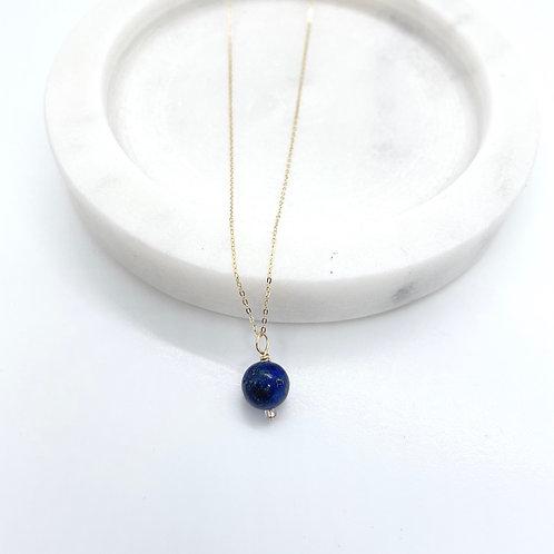 Thin 14k Solid Gold Lapis Lazuli Gemstone Necklace