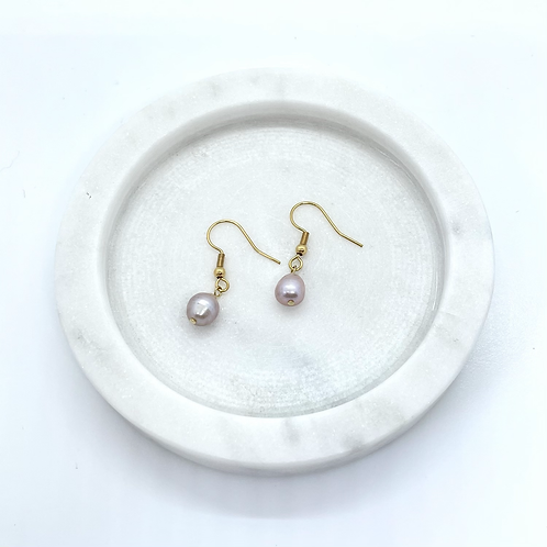 Pink Fresh Water Pearl Dangle Earrings, Gold Plated Surgical Steel