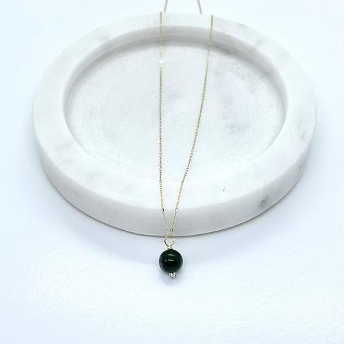 Thin 14k Solid Gold Jade (dark green) Gemstone Necklace