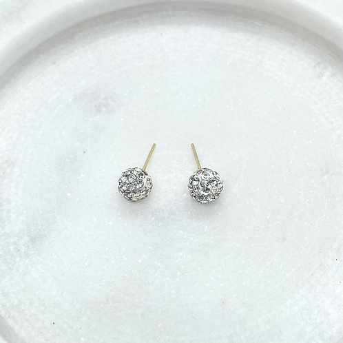 14k Solid Gold CZ Ball Earrings