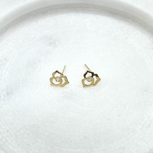 14k Solid Gold Rose Earrings