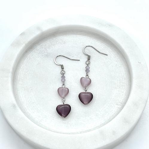 Heart Violet Catseye Earrings, Surgical Steel Hypoallergenic