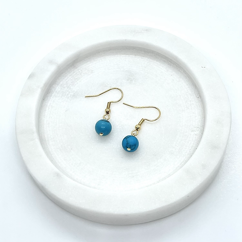 Turquoise Gemstone Dangle Earrings, Gold Plated Surgical Steel