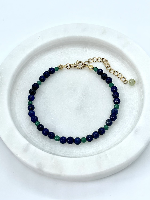 Lapis Lazuli and Jade Gemstones Bracelet