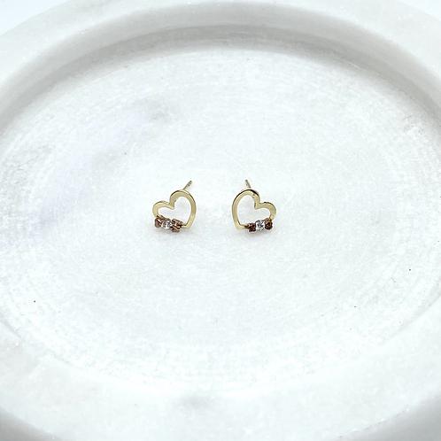 14k Solid Gold Heart Earrings