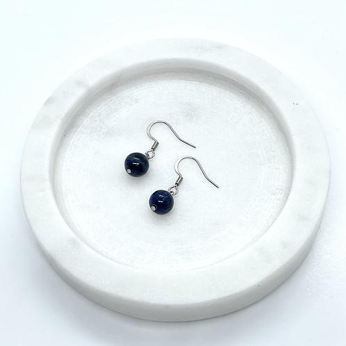 Lapis Lazuli Gemstone Earrings, Surgical Steel Hypoallergenic