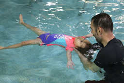 Daddy helping with my backfloat