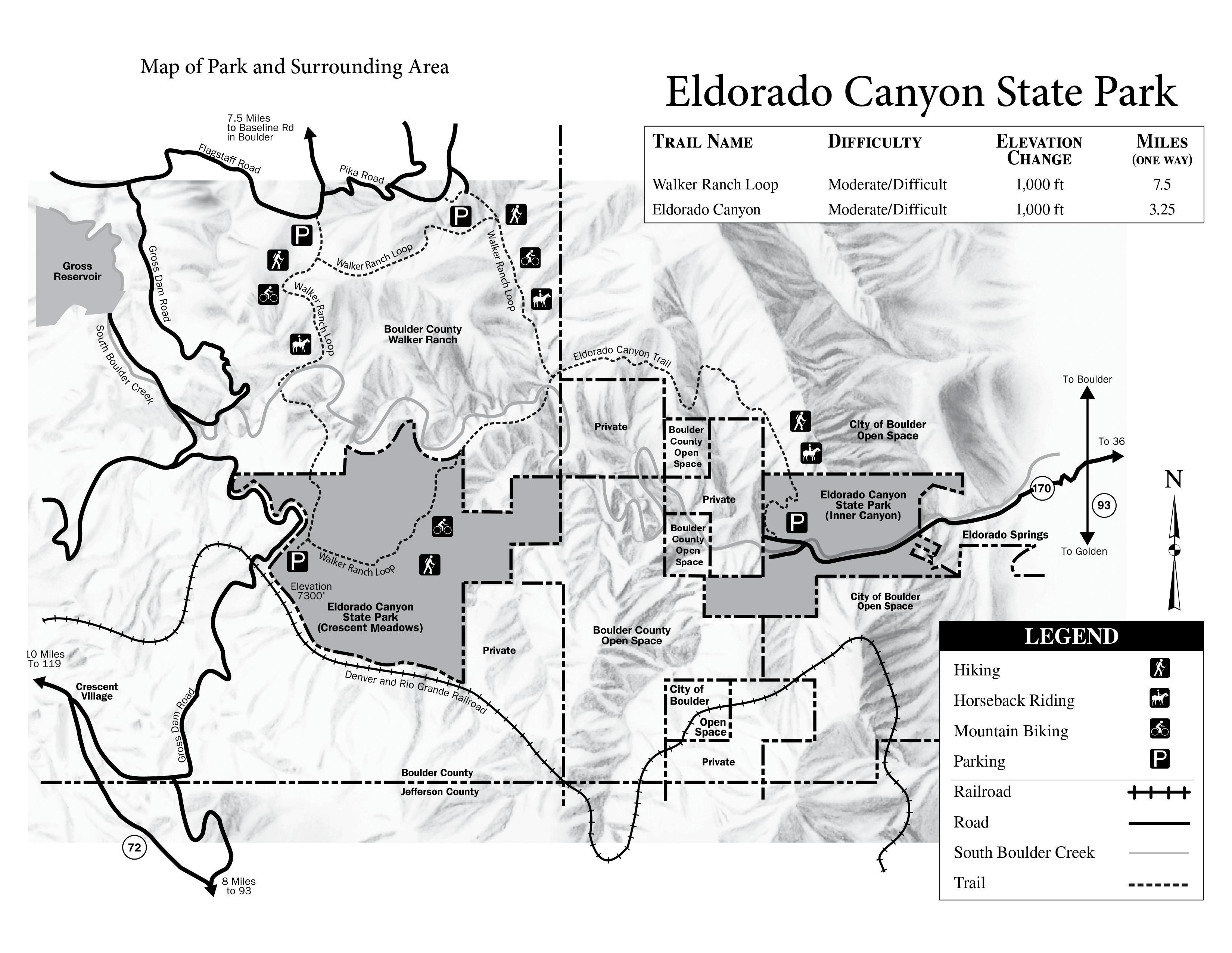 Eldorado Canyon State Park Map