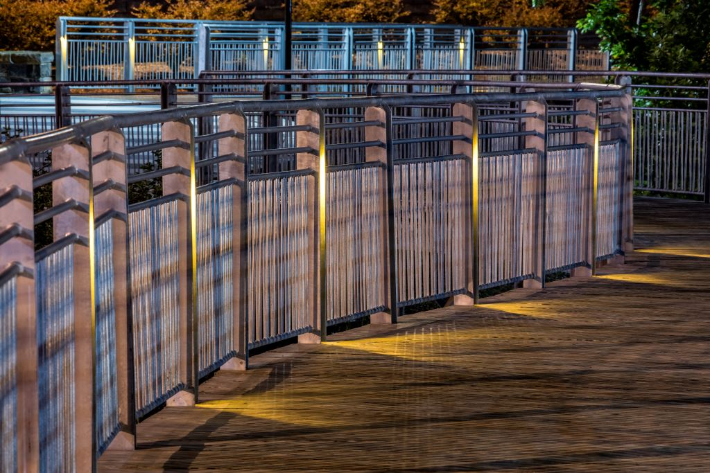 Shelley Rentsch - 6  Germantown Park custom galvanized railings with night lighting