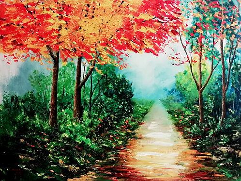 Walking in a autumn forrest