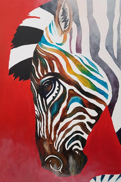 Zebra in rood