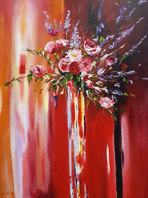 Bloemen in glazen vaas