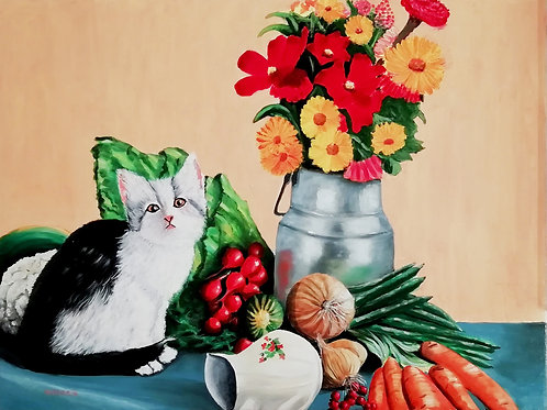 Cat, vegetables and flowers