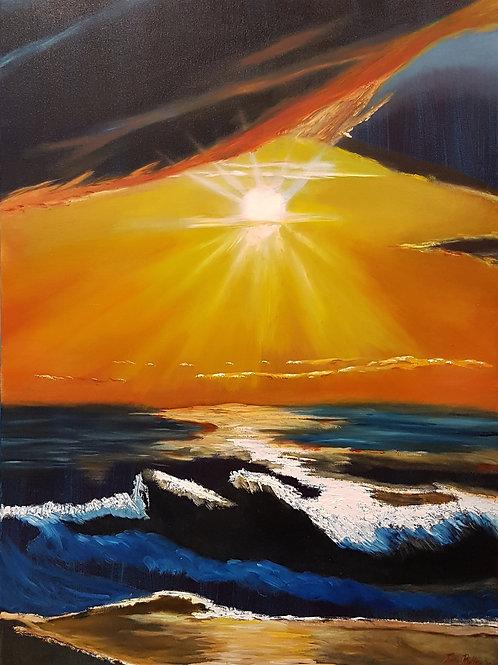 Golven met zonsondergang