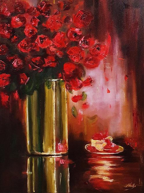 Rode rozen in vaas