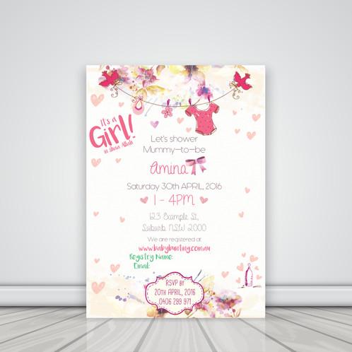 baby shower invitations  graphic design  islamic decor  sydney, Baby shower invitation