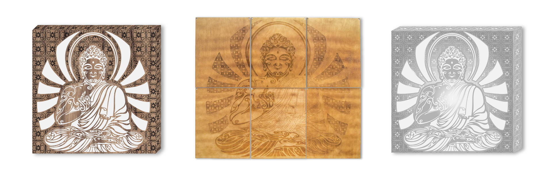 LASER ETCHED BUDDHA WOOD WALL MOUNTS