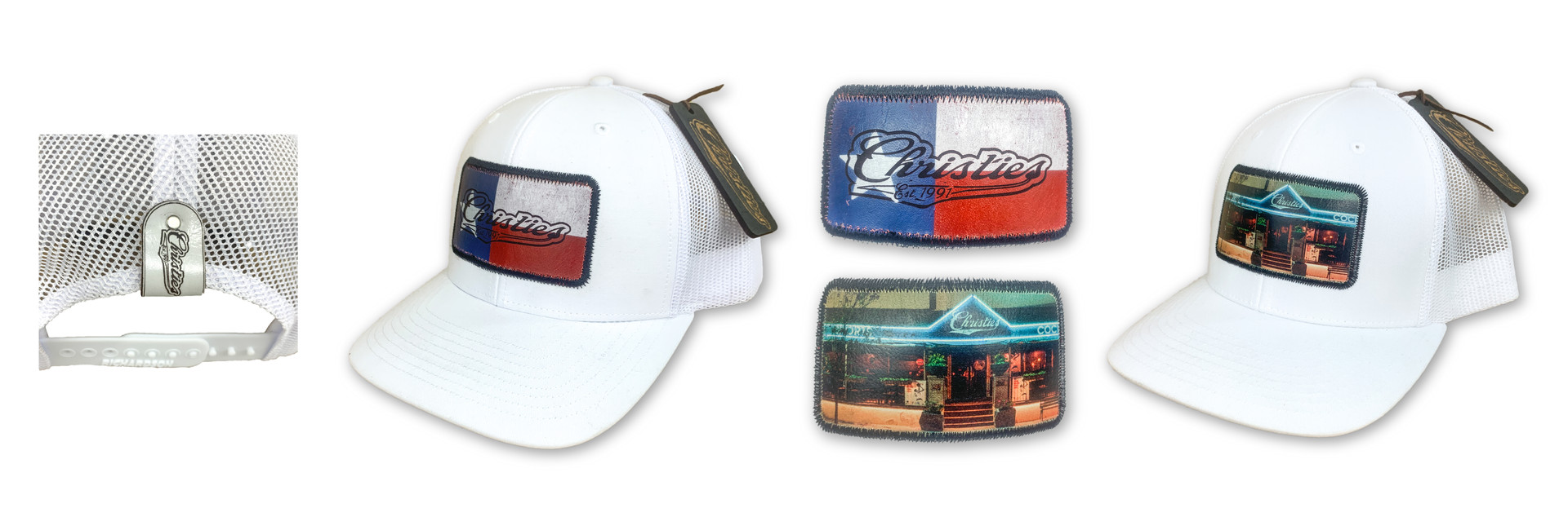 CUSTOM PRINTED LEATHER PATCH HATS | CHRISTIES BAR & GRILL