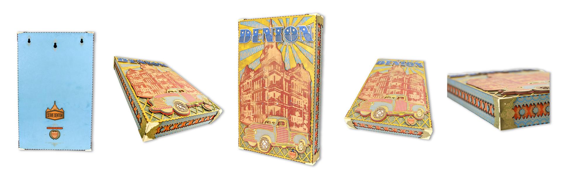 SERVE DENTON CHARITY AUCTION WOOD ART BOX