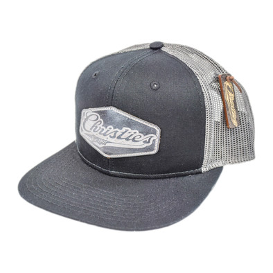 CHRISTIES SPORTS BAR & GRILL   CUSTOM LEATHER PATCH TRUCKER HAT