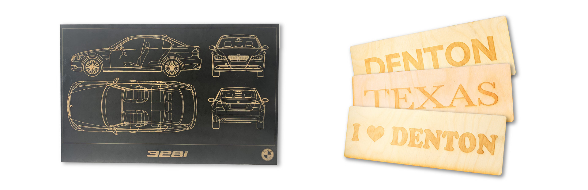 BMW LASER ETCHED BLUEPRINT | DENTON/TEXAS WALL PLAQUES