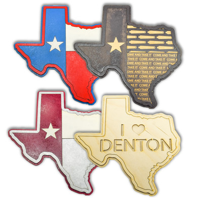 WOODEN TEXAS WALL PLAQUES