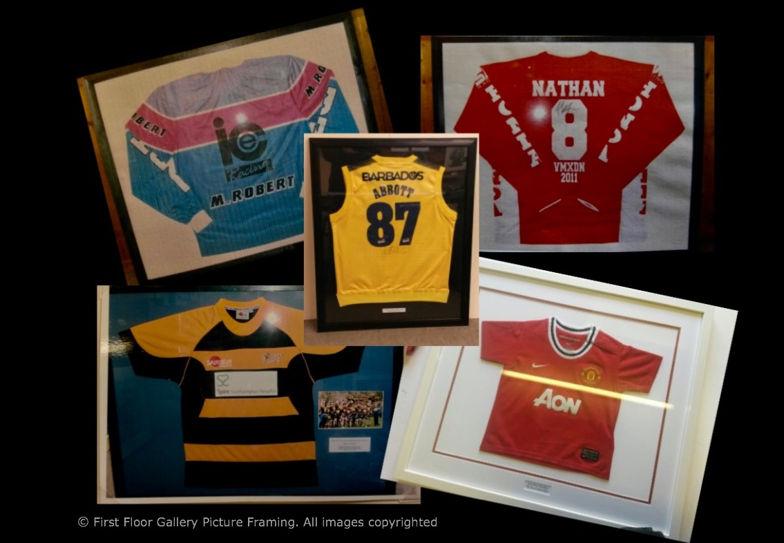 Football shirts framing