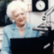 Former First Lady Barbara Bush participates in her radio program, Mrs. Bush's Storytime, which aims to help children learn to love reading.