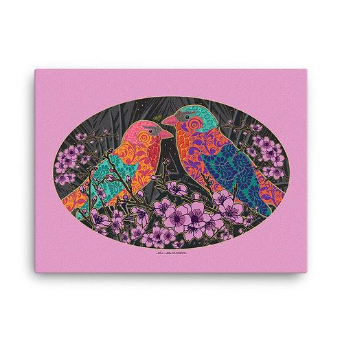 Personalized canvas print art / Wedding Nightingale Pink