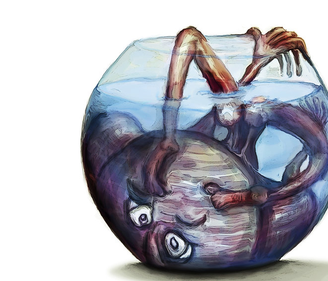 Painting entitled: Trapped in a fishbowl