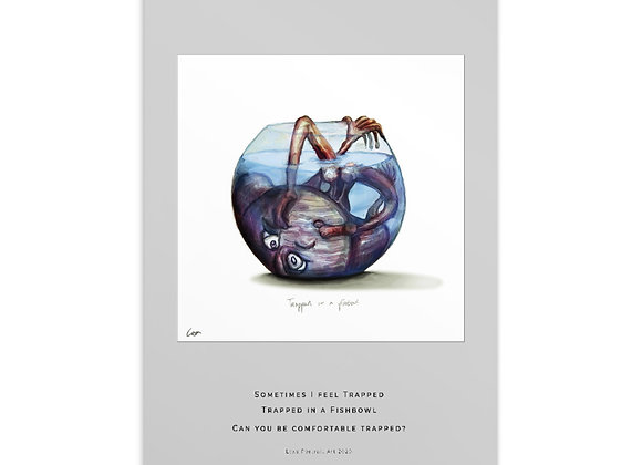 Art Postcard - Trapped in a Fishbowl
