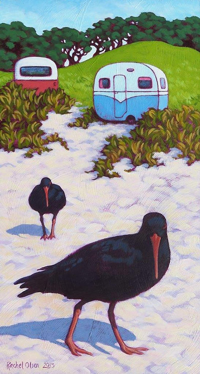 Oystercatchers & Caravans Greeting Card