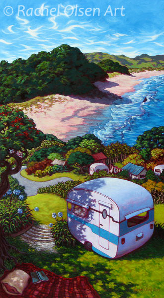 Hot Water Beach Caravan Greeting Card