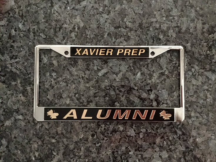Xavier Prep Alumni License Plate Frame Black withGold
