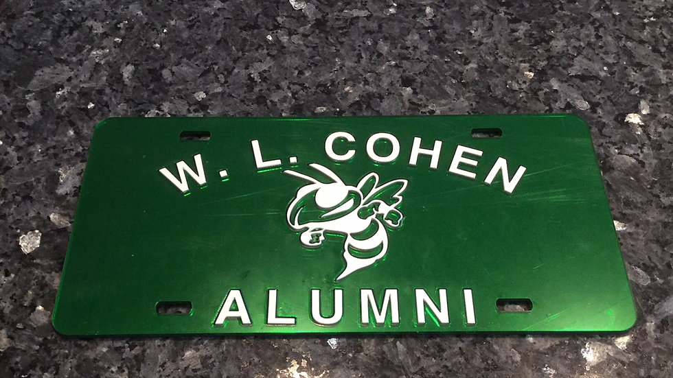Cohen Alumni License Plate in Green with white details