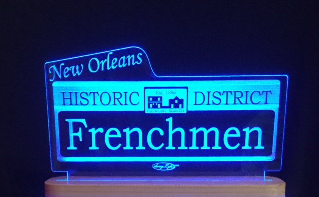"""New Orleans """"Frenchmen Street"""" SwagLyte with """"Sapele"""" Exotic Wood base"""