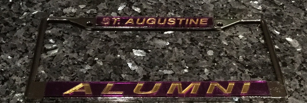 St. Augustune License Plate Frame in Purple with gold details