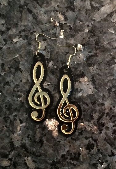 Treble Clef Music Note Earrings in Gold and Black Acrylic