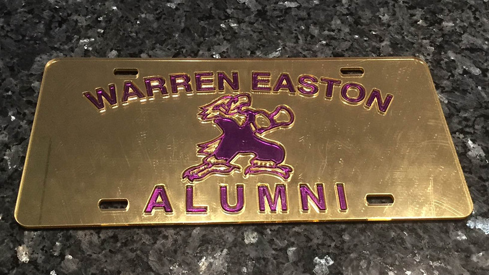 Warren Easton Alumni License Plate Gold with Purple Lettering