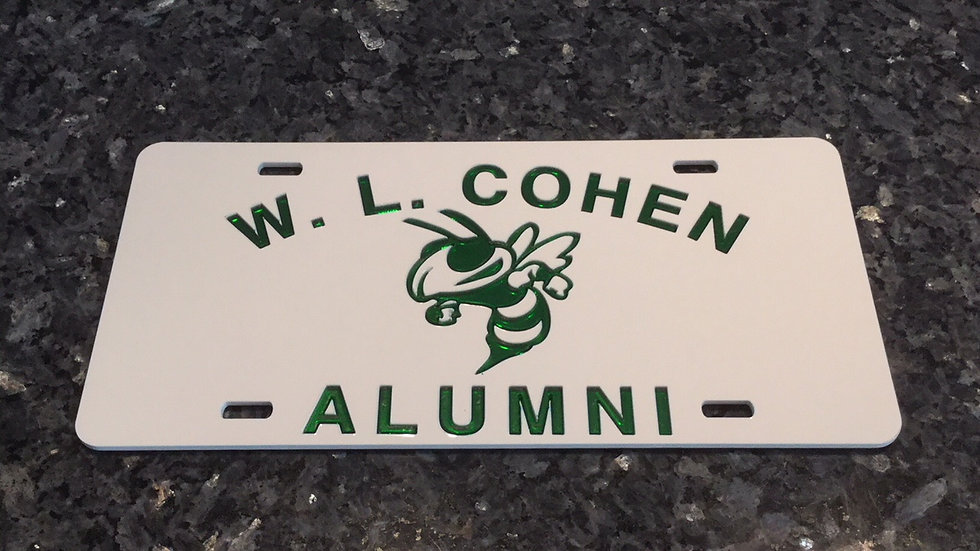 Cohen Alumni License Plate in White with green details