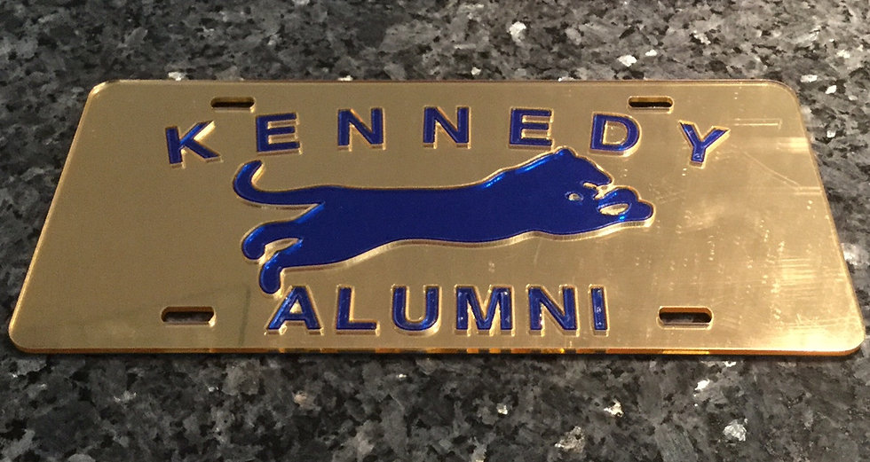 John F. Kennedy Alumni License Plate in Gold with blue details