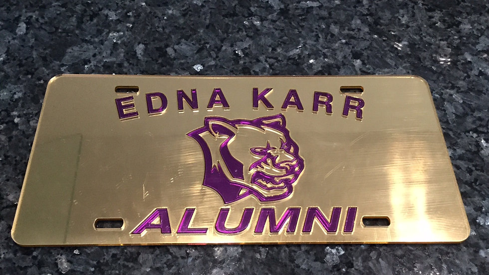 Karr Alumni License Plate in Gold with Purple Lettering